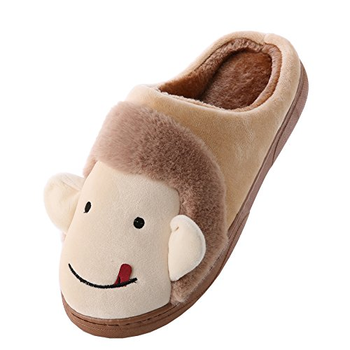 Cartoon monkey cotton home slippers-Unisex winter warm plush boots shoes Coffee