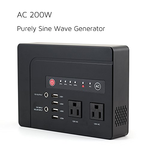 WEIYI 200-Watt Purely Sine Wave Portable Generator Power Station Power Inverter With Outputs AC 110V 4USB ,2DC-12V/10A, Built-in Li-on Battery 42000mah (12v Battery Ac Small)