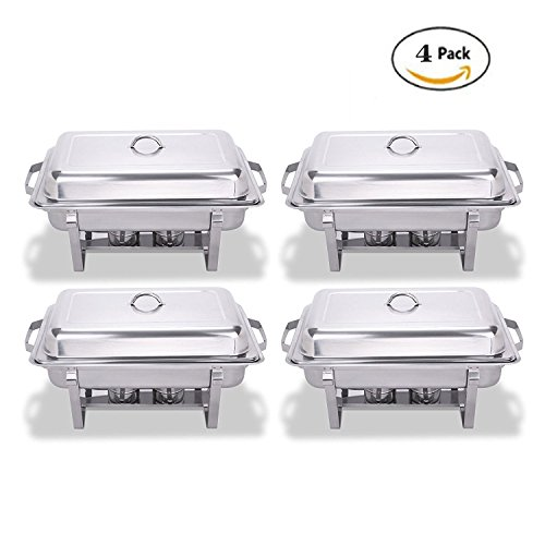 Happybuy 4 Pcs Chafing Dish Stainless Steel Chafer 8 Quart Chafers for Catering Full Size Rectangular Chafing Dishes Buffet for Party