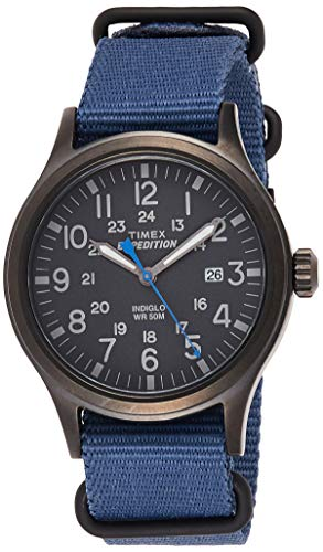 Timex Men's TW4B04800 Expedition Scout 40 Blue Nylon Slip-Thru Strap Watch (Timex Green Watch Band)