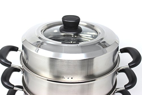 CONCORD 3 Tier Premium Stainless Steel Steamer Set (32 CM) by Concord Cookware (Image #2)