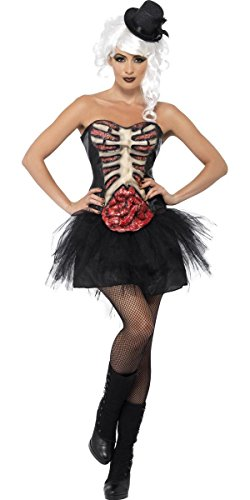 (Ladies Sexy Grotesque Burlesque Skeleton Zombie Gothic Corset Halloween Fancy Dress Costume Outfit (UK)