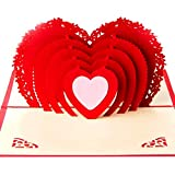 Love Heart Greeting Card,3D Pop Up Card,Cardstock Wedding Invitations,Gay/Lesbian Wedding Greeting Card,Kaqimover,Anniversary,Valentine Gift,for Wife,Husband,Boyfriend,Girlfriend,Lover,Couple,6in,1PC