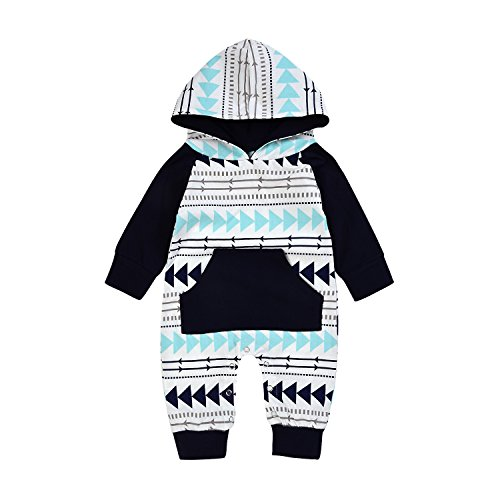 Newborn Baby Boy Girls Hooded Pocket Long Sleeve Romper Geometric Bodysuit Warm Outfit (0-3Months, Geometric design)