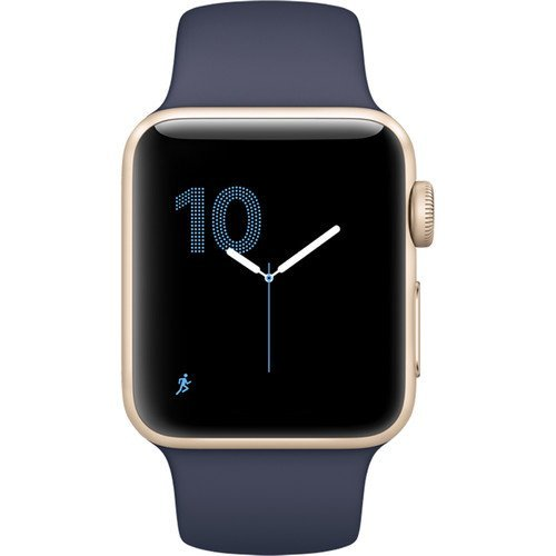 Apple Watch Series 1 Smartwatch 38mm Gold Aluminum Case, Midnight Blue Sport Band (Certified Refurbished)