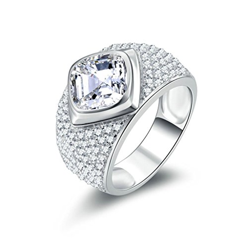 [Gnzoe Jewelry, Men Wedding Ring Wide Band Full Square Cubic Zirconia, Customized Ring] (Famous Trios Costumes)