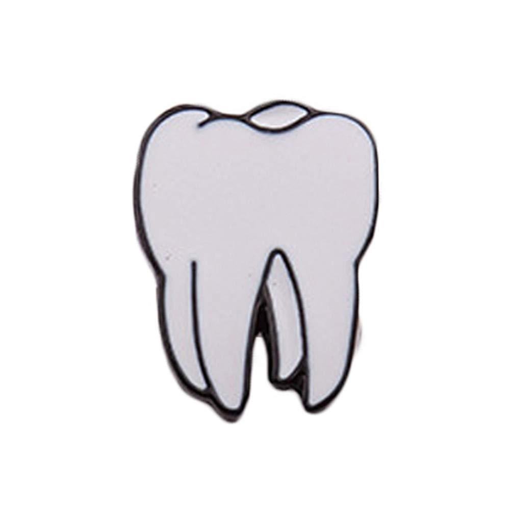 Dolland Cute Eye Teeth Brain Heart Brooches Womens Jewelry Needle Brooch Lapel Pin Collar,Tooth