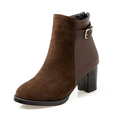 Women's Kitten-Heels Solid Round Closed Toe Soft Material Zipper Boots Brown 41