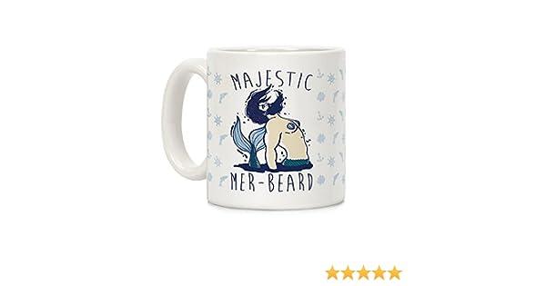 LookHUMAN Majestic Mer-Beard White 11 Ounce Ceramic Coffee Mug