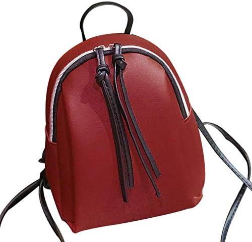 ZWQ Lady Kleiner Rucksack Damen Leder Umhängetasche Mini Rucksäcke Damen Tasche, Rot