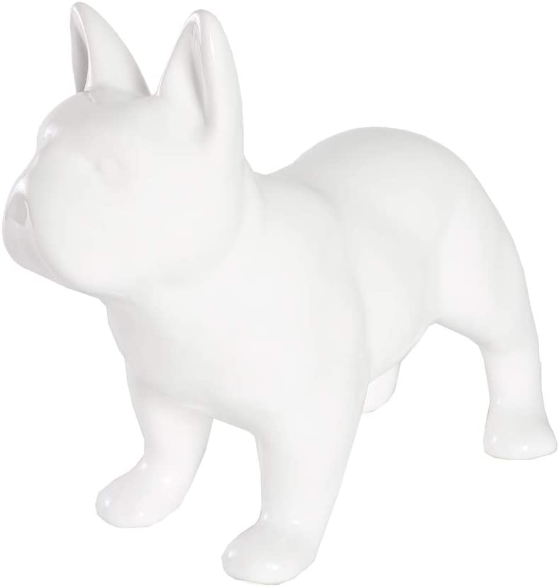 Nayothecorgi Ceramic Dog Statue - Standing French Bulldog (Shiny White)