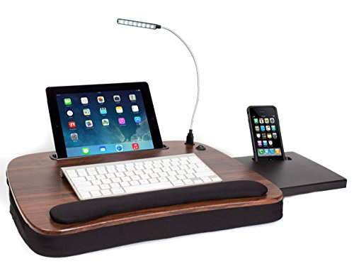 Sofia + Sam Multi Tasking Memory Foam Lap Desk with USB Light (Wood Top) | Supports Laptops Up To 15 Inches