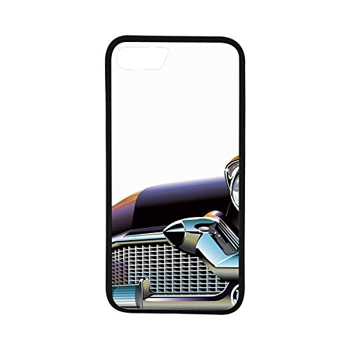 (Cars Rubber Phone Case,Old Fashioned Automobile Old Timer Antique American Collectors Vehicle Decorative Compatible with iPhone 8)
