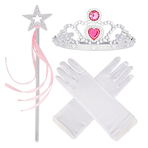 Princess Dress Up Star Princess Wands 3-8 Years Old Tiara Star Wand with Ribbon White Gloves (White Star Wand)