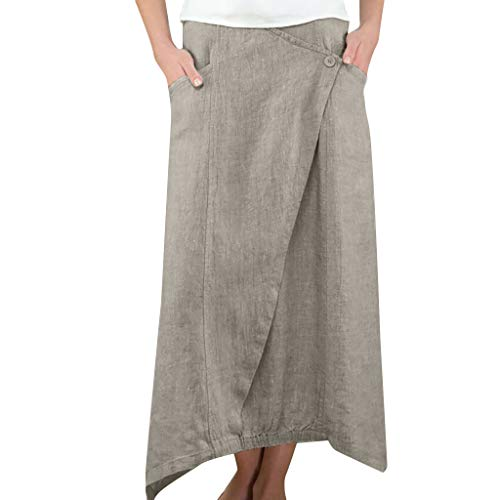 Ladies Fashion Cotton and Linen Solid Button Skirt, Women's Wild Leisure Casual Mid-Calf Skirt with Pocket (Gray, XXL) ()