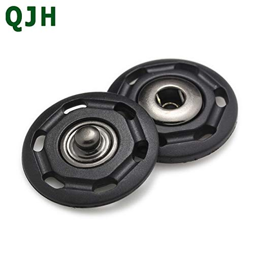 Maslin High-Grade Metal Nylon Invisible Buttons Female Buckle Coat Clothes Black&White Plastic Snap Buttons18mm 20mm 22mm 25mm 30mm - (Color: Black, Size: 22mm)