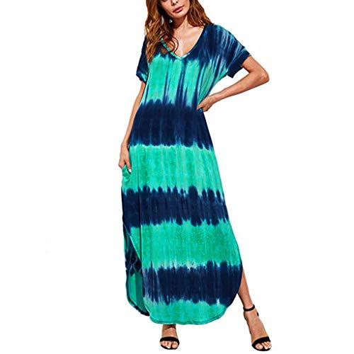 RAINED-Women's Plus Size Maxi Dress V-Neck Casual Short-Sleeved Dress Gradient Print Side Slit Dress Flare Shirt Dress Green