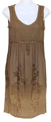 Raya Sun Embroidered Pintuck Ombre Dress/Cover up M-XL and 1X-3X (MED, Coffee)