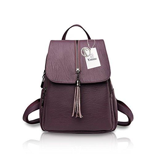 Yoome High-Capacity Schultasche Fashion Lady Quaste Rucksack Schulter Sport Geldbörse Reisetasche Lila Lila