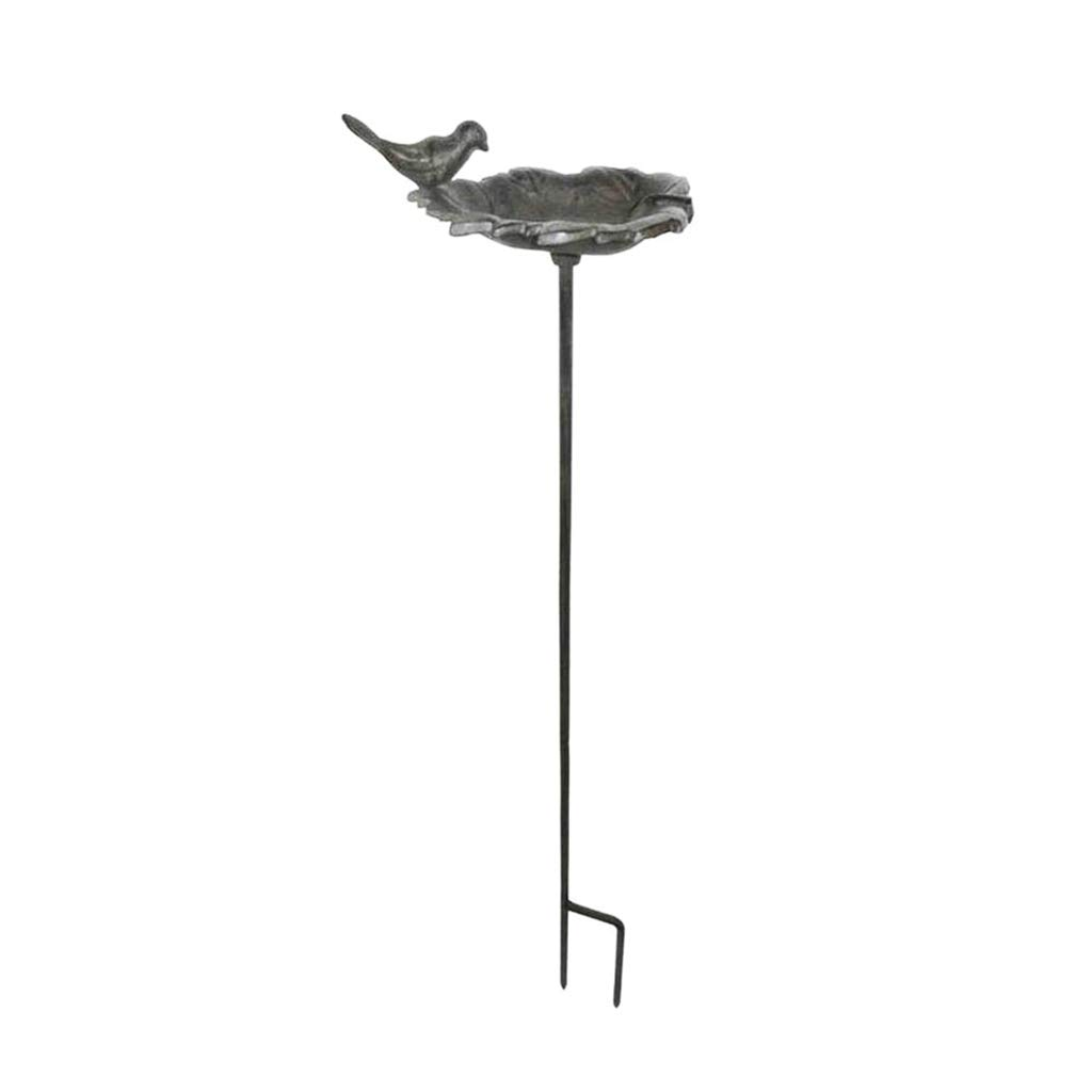 Cast Iron Freestanding Leaf Bird Bath (Z229) - This Versatile Garden Accessory Can Be Used As A Bird Bath Or Feeder And Is The Perfect Housewarming Gift For A Gardener or Wildlife Lover. - H 77 x W 13 cm Dibor