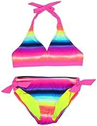 29be297658 Girl s Coconut Grove Print Halter Bikini Set Two Piece Swimsuit Size 6-16