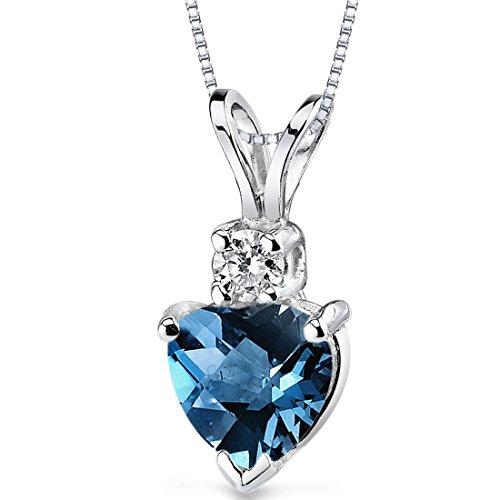 - 14 Karat White Gold Heart Shape 1.00 Carats London Blue Topaz Diamond Pendant