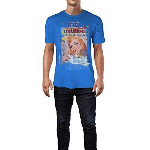 SINUS ART® Nurse Linda Lark Herren T-Shirts stilvolles royal blaues Fun Shirt mit tollen Aufdruck