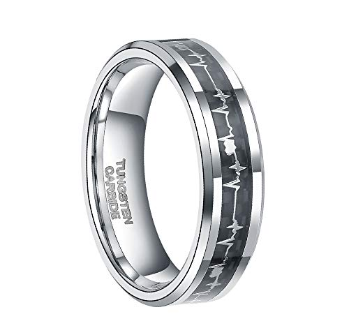 6mm Tungsten Carbide Wedding Ring for Men Women with EKG Heart Beat Carbon Fiber Inlay Silver Wedding Band Size 9.5 ()