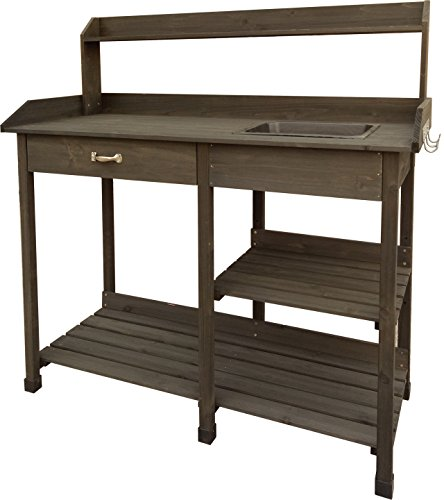 (Garden Bloom 729BL Wood Potting Bench, Brown)