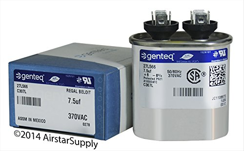 Replaces Lennox Capacitor - 46K33 - 7.5 uf MFD 370 Volt VAC - Lennox Oval Run Capacitor Upgrade
