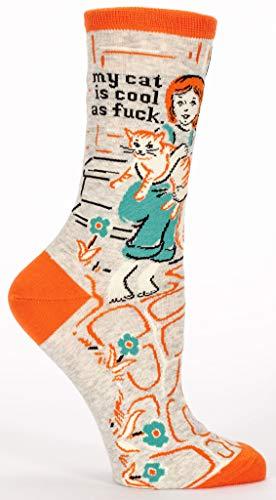 Blue Q Socks, Women's Crew, My Cat Is Cool As F--k, Orange, Shoe Size 5-10