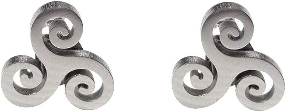 cordon ou chaine. Parure collier et boucles doreilles symbole triskel