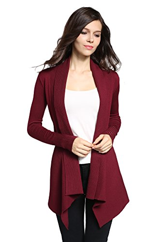 Sofishie Classic Ribbed Draped Open-Front Cardigan - Red - Large (Ribbed Open Cardigan)