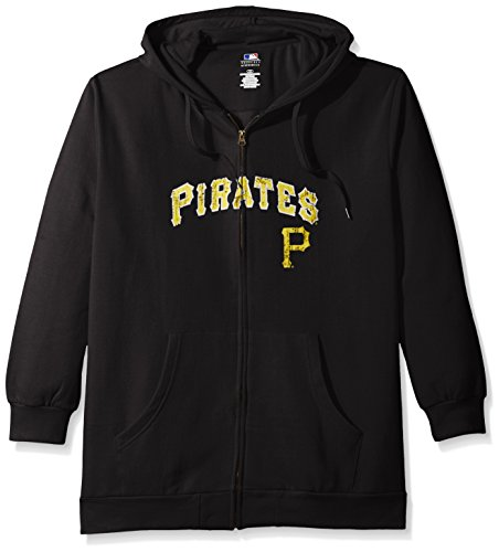 Profile Big & Tall MLB Pittsburgh Pirates Women's Team Full Zip Fleece Hoodie with Distress Word Mark on Chest, 2X, Black (Pirates Pittsburgh Fleece Team)