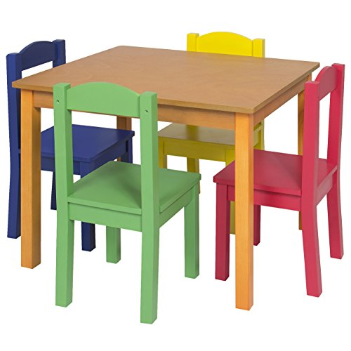Best Choice Products Kids Wooden Table and 4 Chair Set Furniture- Primary/Natural by Best Choice Products