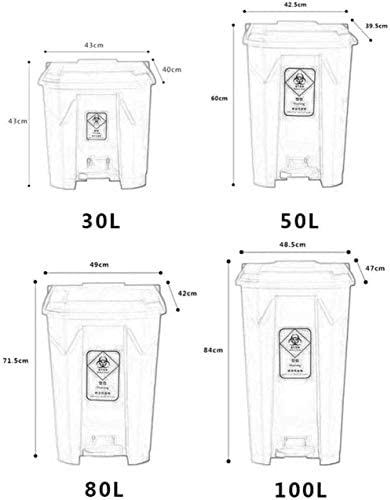 POIUY 酷いビン|ビンにフラットふたをゴミ箱|ベッドルーム、バスルーム、キッチン、ガーデン用ステンレススチールビン|ペダルで証明廃ビン (Size : 100L)