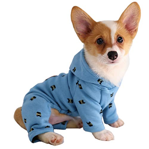 Kitipcoo Pet Dog Clothes Dog Thick Winter Cotton Velvet Hoodies Jumpsuits for Small Dogs Round Neck, Blue Bats Four…