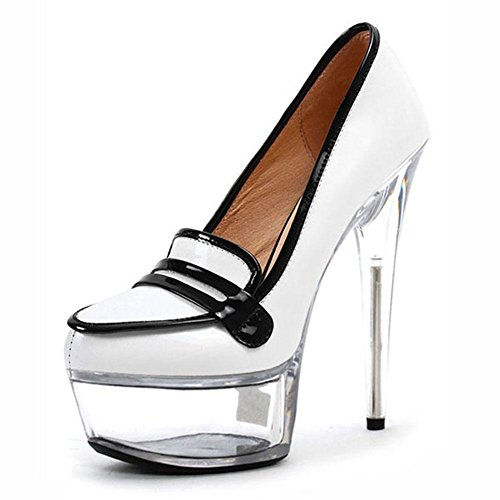 L@YC Women'S High Heels Crystal 15cm Fine High-Heeled Wedding Bag With Dance Waterproof Sandals White 41yIwS05F3