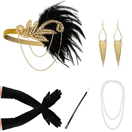 Zivyes 1920s Accessories Flapper Costume for Women Headpiece Cigarette Necklace Gloves (12A)