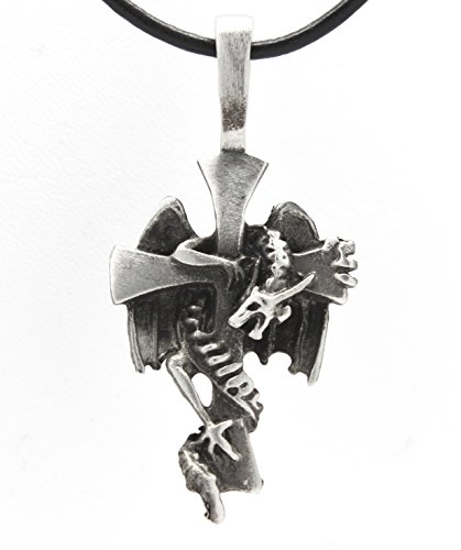 Dragon Cross Pendant (Pewter Dragon around Cross Pendant on Leather Necklace)