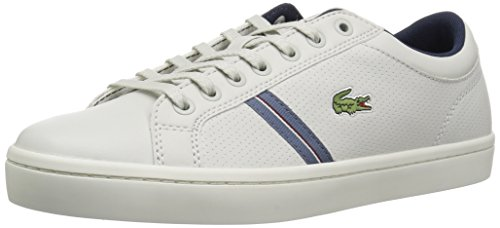 (Lacoste Men's Straightset Sneaker, Off Off White Natural Leather, 9.5 Medium US)