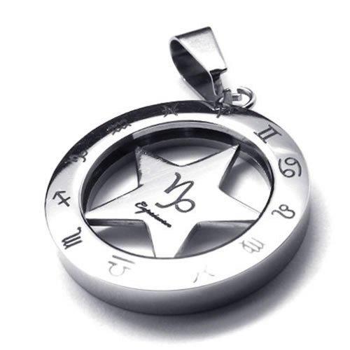 KONOV Stainless Spinner Necklace Capricorn