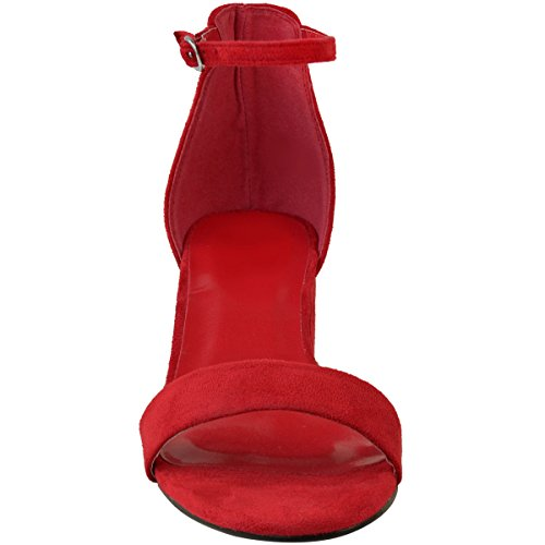 Fashion Thirsty Heelberry® Womens Ladies Low Block Heel Black Sandals Ankle Strap Work Smart Shoes Size Red Faux Suede qj0bt9hCpv