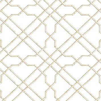(York Wallcoverings Tropics Bamboo Trellis Removable Wallpaper, White, Beige, Tan)