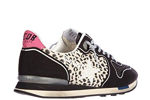 Golden Goose chaussures baskets sneakers femme en daim running vintage leo noir