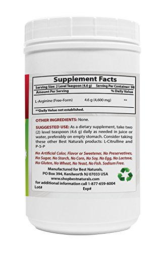 L Arginine Powder 4 OZ by Best Naturals 100% Pure Free Form Pharmaceutical Grade
