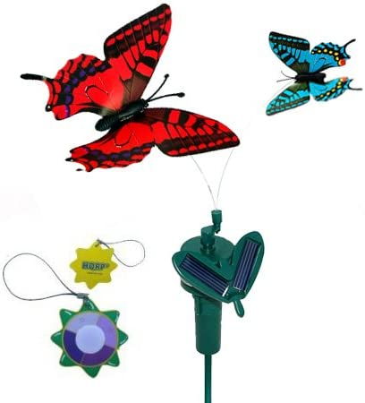 2 Solar Powered Flying Fluttering Butterflies Yellow Swallowtail and Blue Morpho