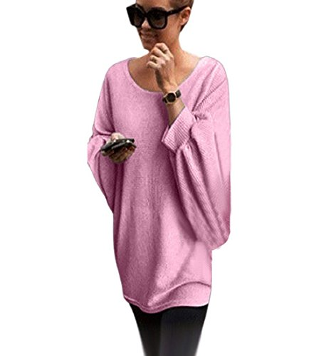 Pullover Sweatshirt Camica Camicetta Donna Tunica Rosa Maglia Blusa Sciolta Top Maniche Scollo Barca Landove Street A Oversize Lunghe Tinta Unita Maglietta Pipistrello Casual SrzSq
