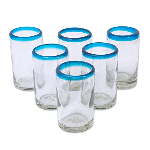- NOVICA 'Sky Blue Halos' Hand Blown Glass Tumblers, 8 Ounces, Clear with Turquoise Blue Rim (Set of 6)