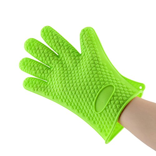 NUMBERNINE, Heat Resistant Glove Heat Proof Hot Resistance Surface Hand Protective Kitchen Tool Oven Pot Holder Baking BBQ Cooking,BBQ accessories for charcoal grill (Green) (Nuts Fixie)